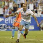Pombo, celebrando un gol (Real Zaragoza)