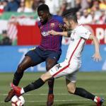 Umtiti, esta tarde ante el Sevilla (FC Barcelona)