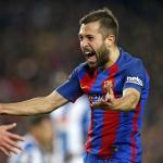 Jordi Alba celebrando un gol con la camiseta culé. Foto: FCBarcelona.es