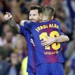 Jordi Alba y Leo Messi, celebrando un gol. Foto: FCBarcelona.es