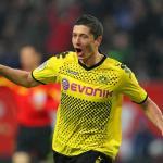 Robert Lewandowski celebra un tanto en Borussia Park