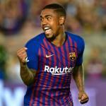 Malcom celebra un gol / Barça