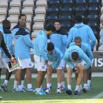 Roberto Mancini encabeza una sesión de entrenamiento del Manchester City