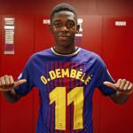 Ousmane Dembélé con su camiseta / Barça
