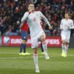 Saul Ñíguez festejando el gol de España contra Noruega. FOTO: RFEF