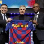 Setién se moja entre Umtiti y Lenglet / FCBarcelona.es