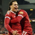 Virgil van Dijk celebrando un gol (Liverpool FC)