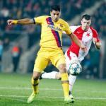 Luis Suárez en el partido frente al Slavia de Praga. / @SoyFan10