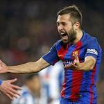 Jordi Alba celebra un gol con el Barcelona / Foto: Barça