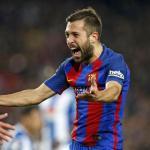 Jordi Alba, celebrando un gol (FC Barcelona)