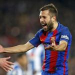 Jordi Alba celebra un gol (FC Barcelona)