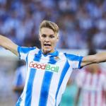 Ødegaard en un partido con la Real. / okdiario.com